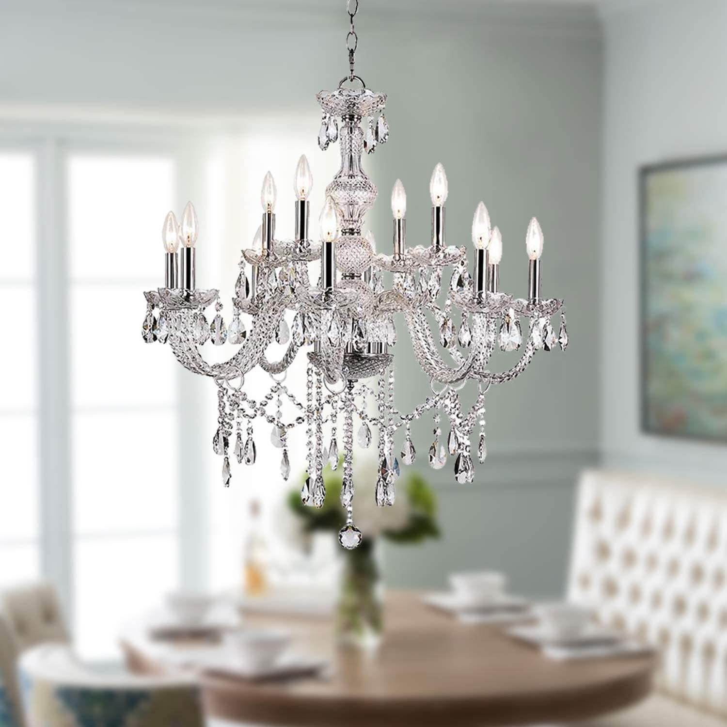 Saint Mossi Modern K9 Crystal Chandelier Lighting LED Ceiling Light Fixture Pendant Chandelier for Livingroom 12 E12 Bulbs Required Width 31 inch x Height 32 inch