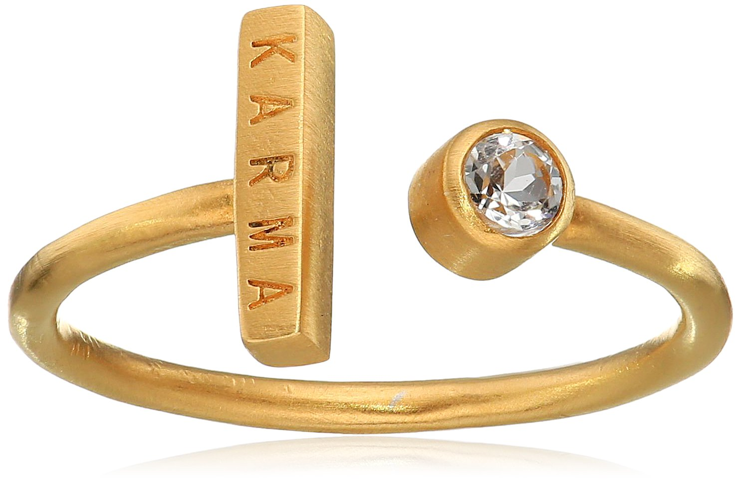 Satya Jewelry Classics White Topaz Gold Plate Karma Adjustable Ring