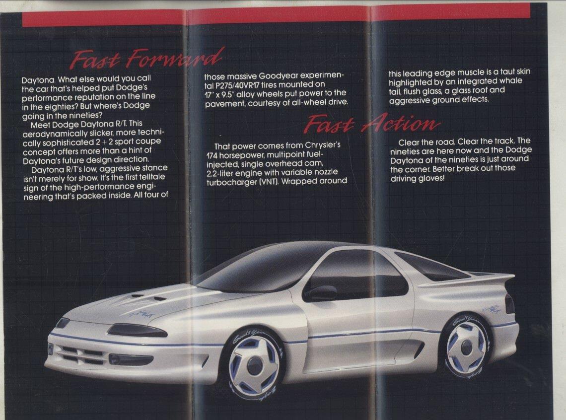 Amazon.com: 1990 Dodge Daytona R/T Concept Car Brochure: Entertainment Collectibles