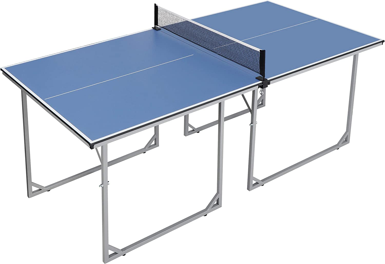 Amazon Com F2c 6 X3 Foldable Ping Pong Table With Net Instant Set Up Table Tennis Table Compact Midsize Regulation Height For Indoor Outdoor Sports Outdoors
