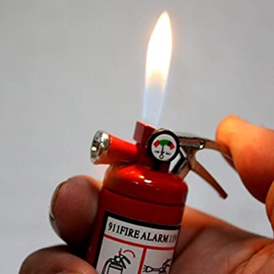 Small LED Flashlight Butane Cigar Lighter Fire Extinguisher Firefighter