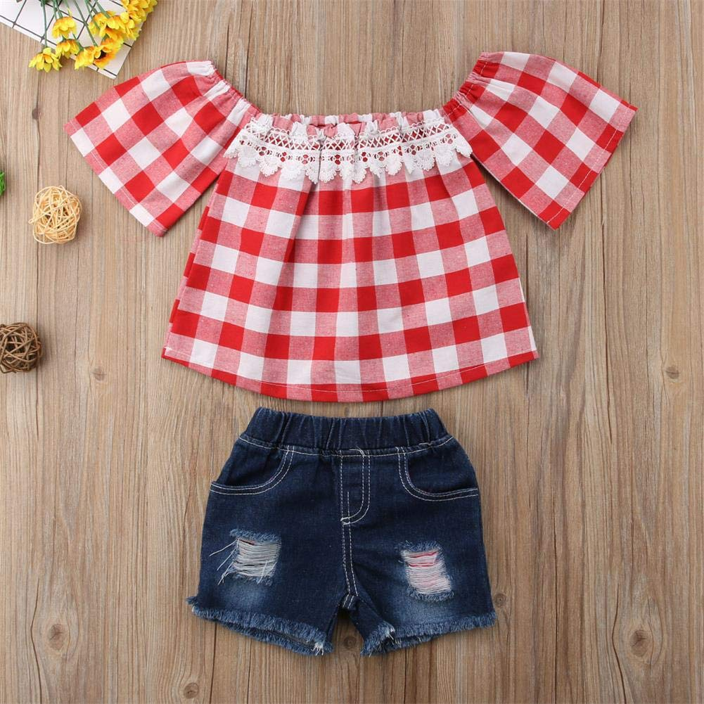 Toddler Baby Girls Plaid Lace Off Shoulder Tops Ripped Denim Short Clothes Sets