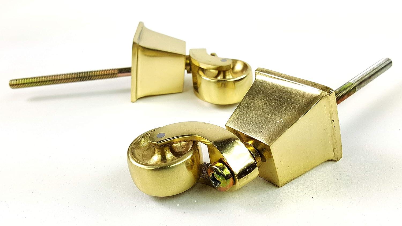 Knightsbrandnu2u 2 Ruedas cuadradas de latón para Ruedas de 38 mm con Perno de 150 - 160 mm para Muebles, Juegos, Camas, sofás, sillas de pie ect ...