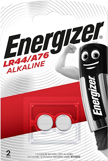 Energizer A76 LR44 1.55V Button Cell Alkaline Batteries x 4 Individually Packaged Each with Retail Hanging Tab