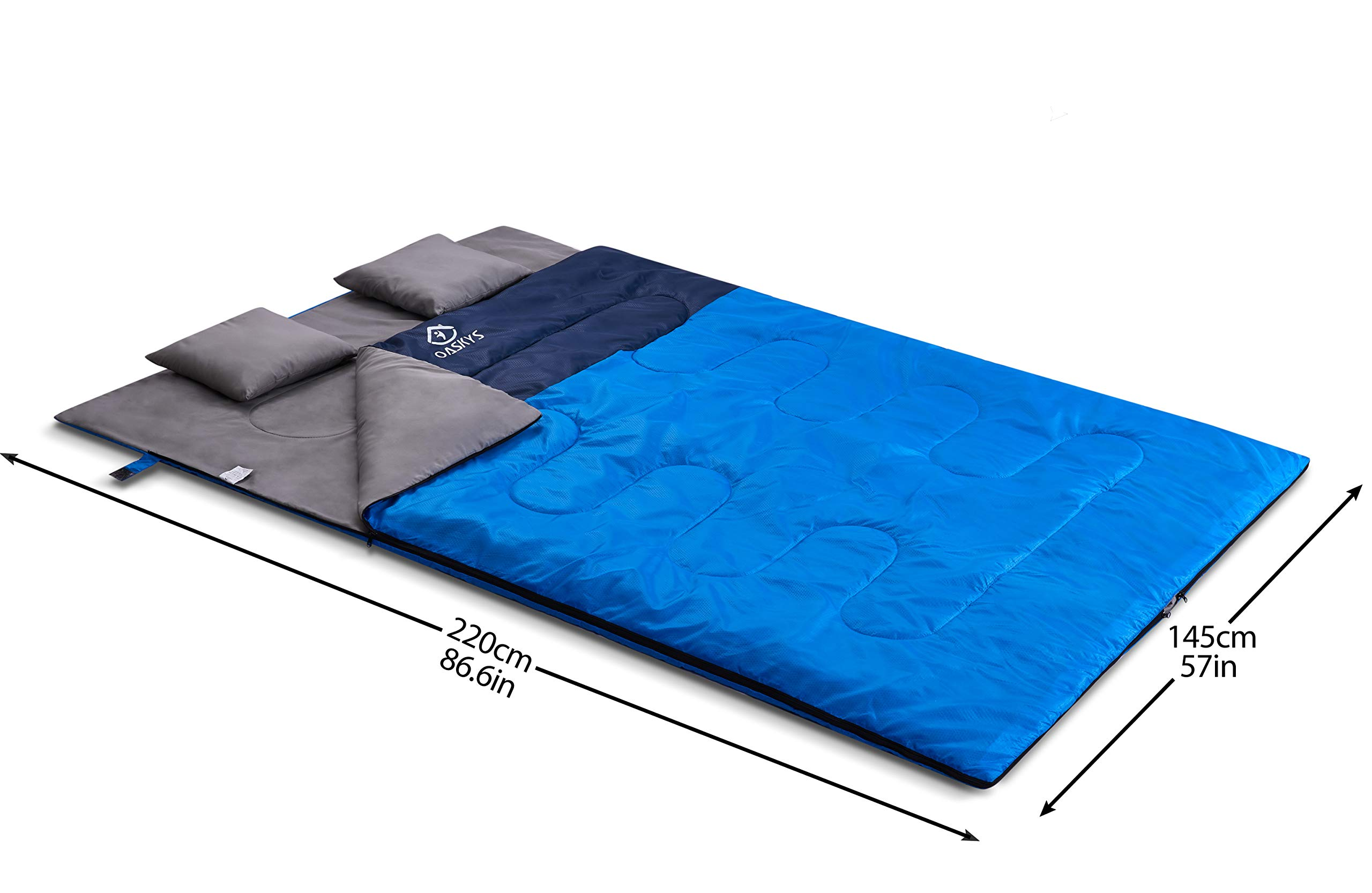 oaskys Camping Sleeping Bag - 3 Season Warm & Cool Weather - Summer, Spring, Fall, Lightweight, Waterproof for Adults & Kids - Camping Gear Equipment, Traveling, and Outdoors (Double Blue) 8