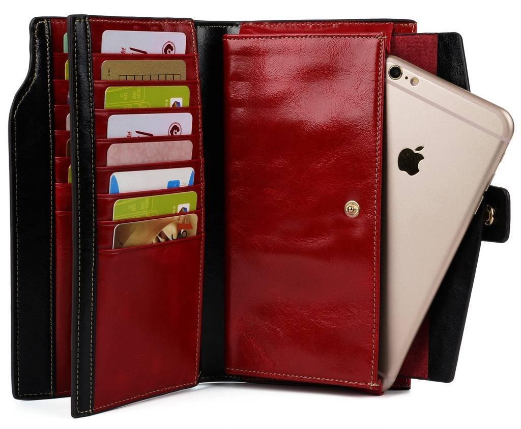 YALUXE Women's Wax Genuine Leather RFID Blocking Clutch Wallet Wallets for Women Red by YALUXE (Image #5)