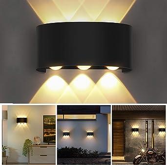 OUSFOT Aplique Pared Interior Lámpara de Pared IP54 Impermeable, Blanco Cálido 6000K Ideal para Salón Pasillo Escalera Dormitorio Baño (Negro): Amazon.es: Iluminación