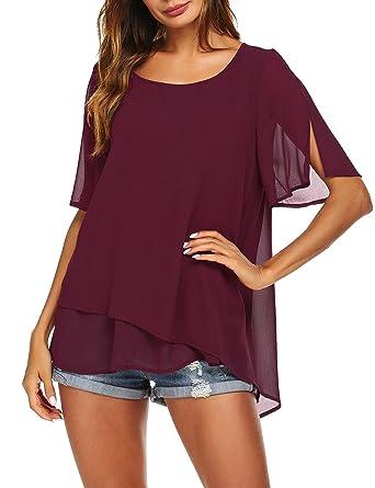 9a033543d004 ELOVER Women Loose Short Sleeve Chiffon Top Light Flowy T-Shirt Blouse  Asymmetric Hem Red