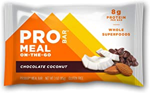 PROBAR - Meal Bar, Chocolate Coconut, Non-GMO, Gluten-Free, Healthy, Plant-Based Whole Food Ingredients, Natural Energy (6 Count)