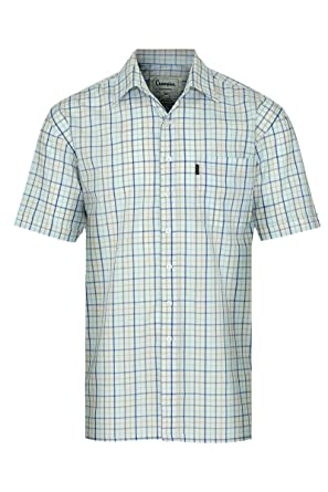 3c8ad76f Champion Stowmarket Short Sleeve Casual Country Check Summer Shirt SS Poly  Cotton Smart Holiday Shooting Hunting