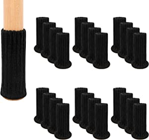 AIRUJIA Chair Leg Socks, 32PCS Knitted Elastic Furniture Socks Chair Leg Floor Protectors, Double Thickness, Fit Square Round Chair Feet with Diameter from 3/4 inch to 1-1/2 inch, Black