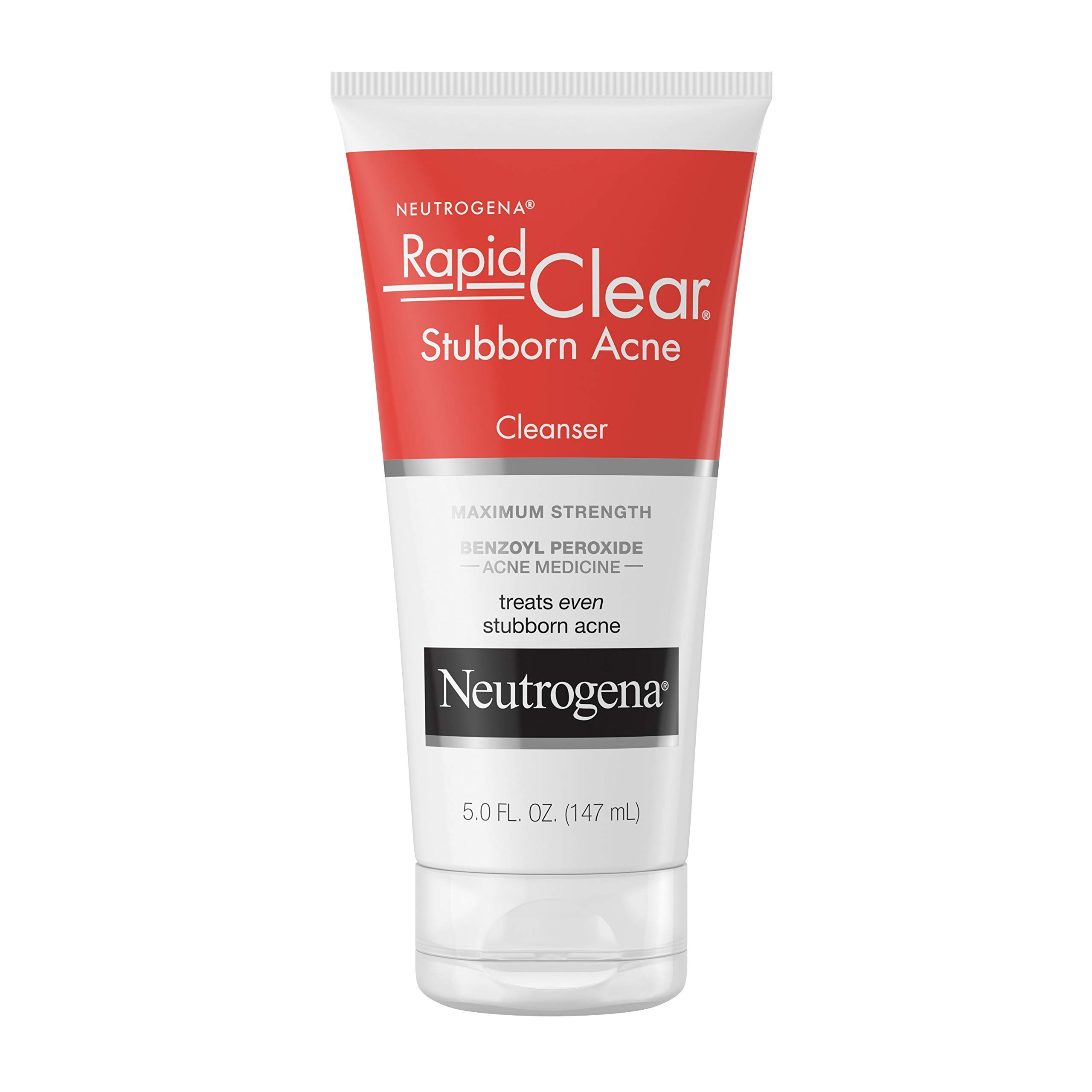 Neutrogena Rapid Clear Stubborn Acne Face Wash with 10 percent Benzoyl Peroxide Acne Treatment Medicine, Daily Facial Cleanser to Reduce Size and Redness of Acne, Benzoyl Peroxide, 5 fl. oz