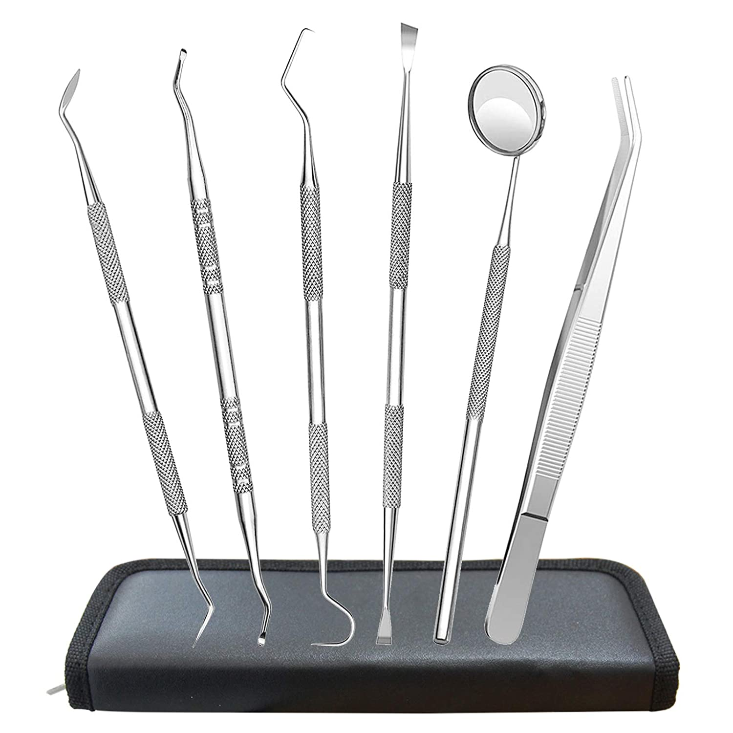 Dental Tools, 6 Pack Dental Picks Teeth Cleaning Oral Care Kit, Stainless Steel Calculus Plaque Remover Hygiene Set, Dental Mirror Tartar Remover Scraper Tooth Pick for Dentist Personal Pet Home Use