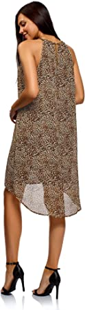oodji Ultra Mujer Vestido de Tejido Fluido con Cadenas