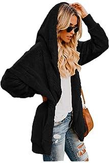 4b5360b373 Alelly Women Casual Fuzzy Fleece Hooded Cardigan Outerwear Winter Coat with  Pocket …