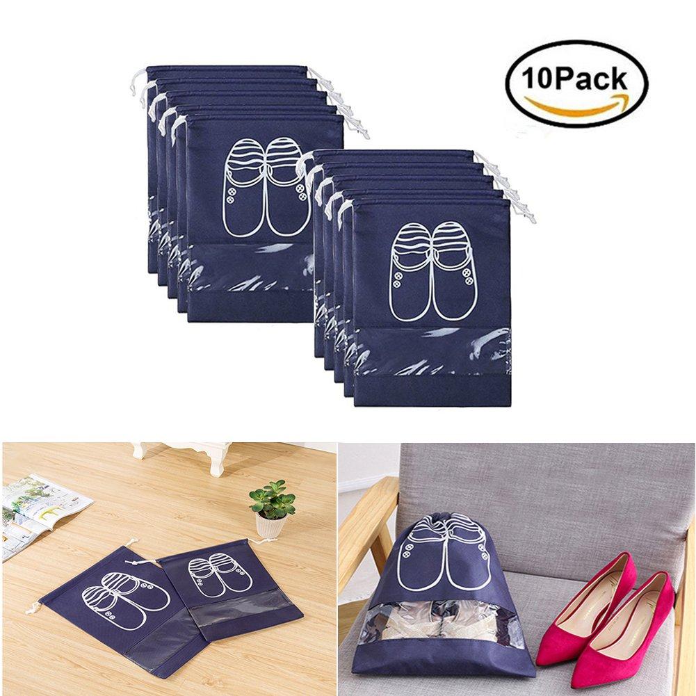 10pcs Travel Shoe Bags, Vinmax Dust-proof Organizer Bags(X-Large,Navy Blue)