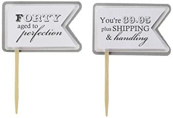 All About Details 40th Birthday Quotes Cupcake Toppers, Set of 12 (Gray)