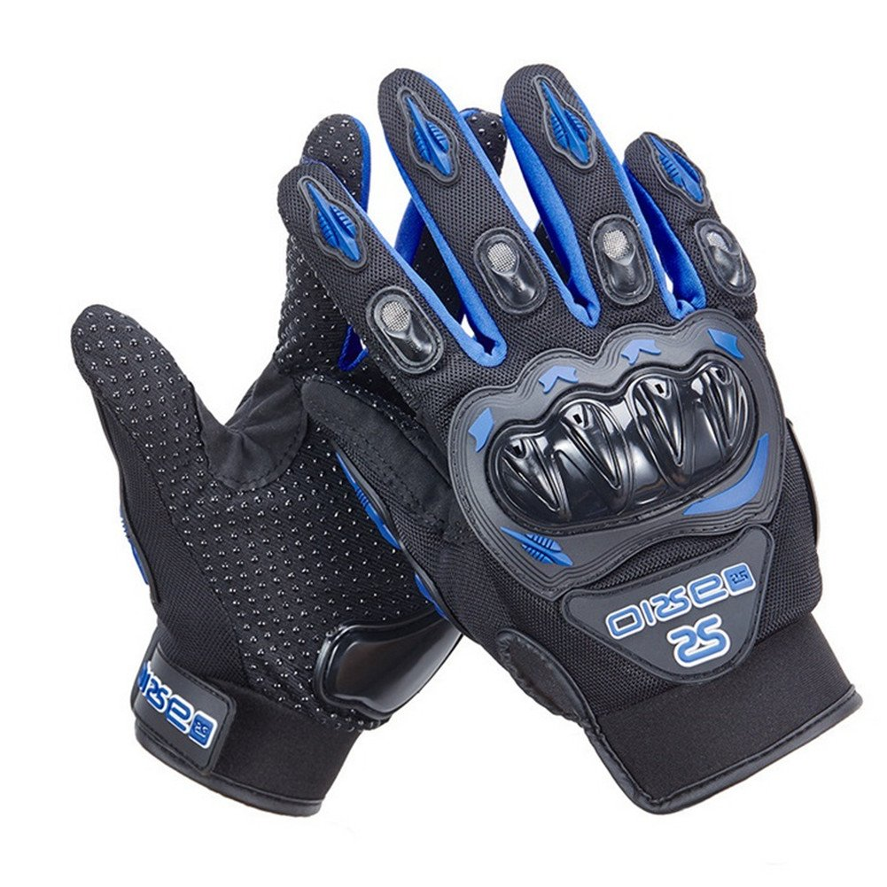 Wonzone Motorcycle gloves Full finger for Road Racing Bike Summer Spring Powersports Racing MTB BMX ATV Off-Road Sports Gloves (Blue, Large)