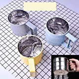 DishyKooker Hand-held Stainless Steel Flour Sieve for Baking kitchen Gadget Random Color Household Product