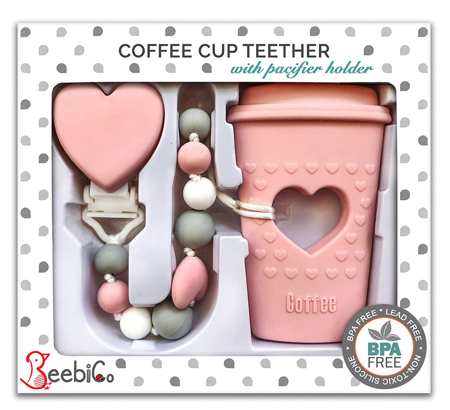 Amazon.com   BPA Free Pacifier Clip Holder Set - Baby Teething Toys -  Silicone Chew Beads and Coffee Cup Teether with Heart for Babies - Unique  Newborn Baby ... 4f183c304c
