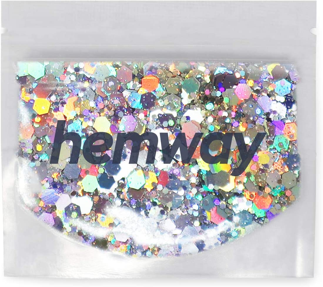 Hemway Silver Holographic Mixed Multi Chunky Glitter Purpose Dust Powder Arts Crafts Decoration Weddings Flowers Cosmetic Face Eye Body Skin Hair Festival 10g
