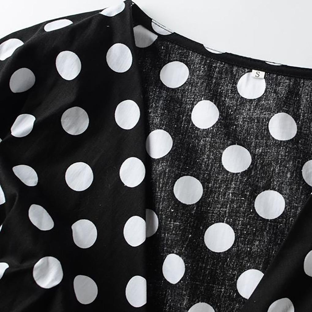 Damen V-Ausschnitt Polka Dot ger/üscht Langarm Tops Oberteile DOLDOA T-Shirt