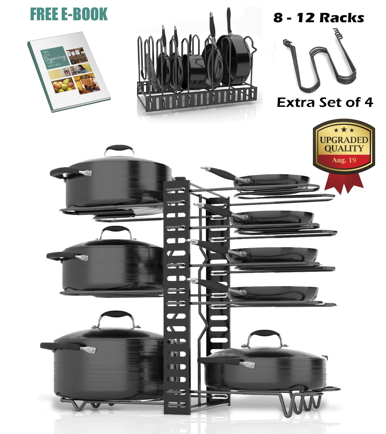 SKATCO Pots and Pans Organizer - Metal Pan Organizer Rack - Pantry & Kitchen Cabinet Organizer - Heavy Duty Lids, Dishes, Pot and Pan Organizer - Horizontal & Vertical Pot Rack with 3 Use Methods by SKATCO