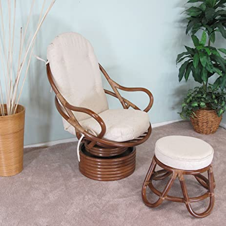 Venice Rattan Swivel Rocker Chair U0026 Foot Stool Assembled In The USA