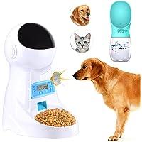 Congelar el alimentador automático de mascotas Alimentador de gatos Alimentador de alimentos con temporizador, pantalla LCD y grabación de sonido y alimentador de agua para mascotas en exteriores (Incluye manual en español) ... ...