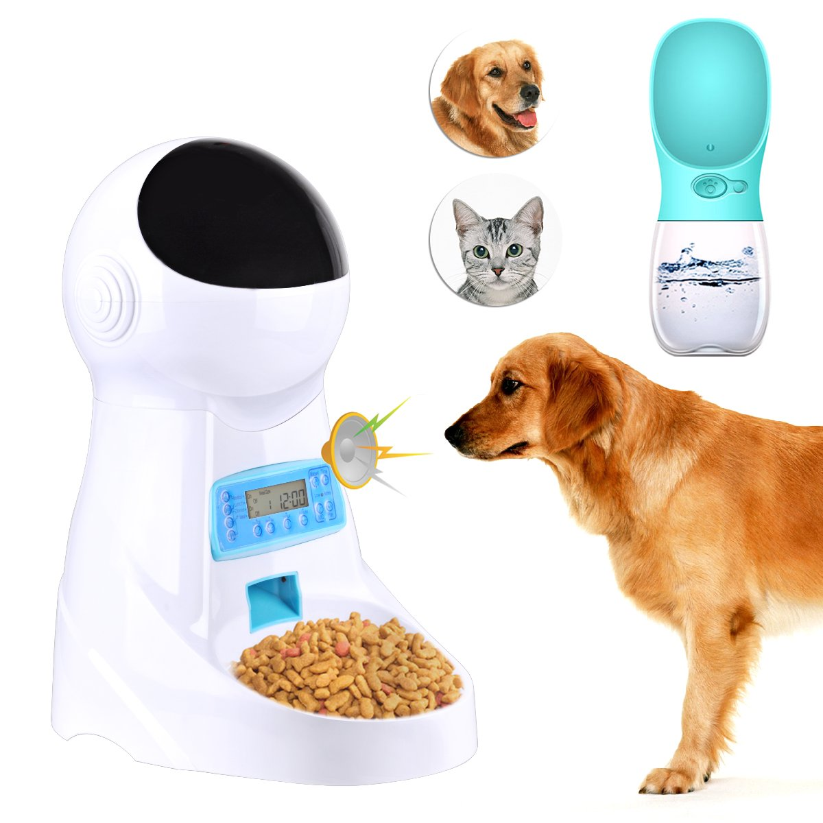 Congerate Automatic Pet Feeder Dog Cat Feeder Food Dispenser with Timer, LCD Display and Sound Recording And Pet Water Feeder Bottle (Blue)