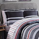 Ellison Great Value Arden Stripe 6 piece Bed in a Bag, Twin, Gray