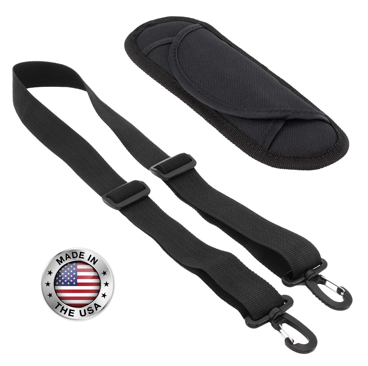 Made In USA 1.5''W x 60''L Black Plastic Hardware Replacement Travel Luggage Bag Shoulder Strap with Removable Shoulder Pad
