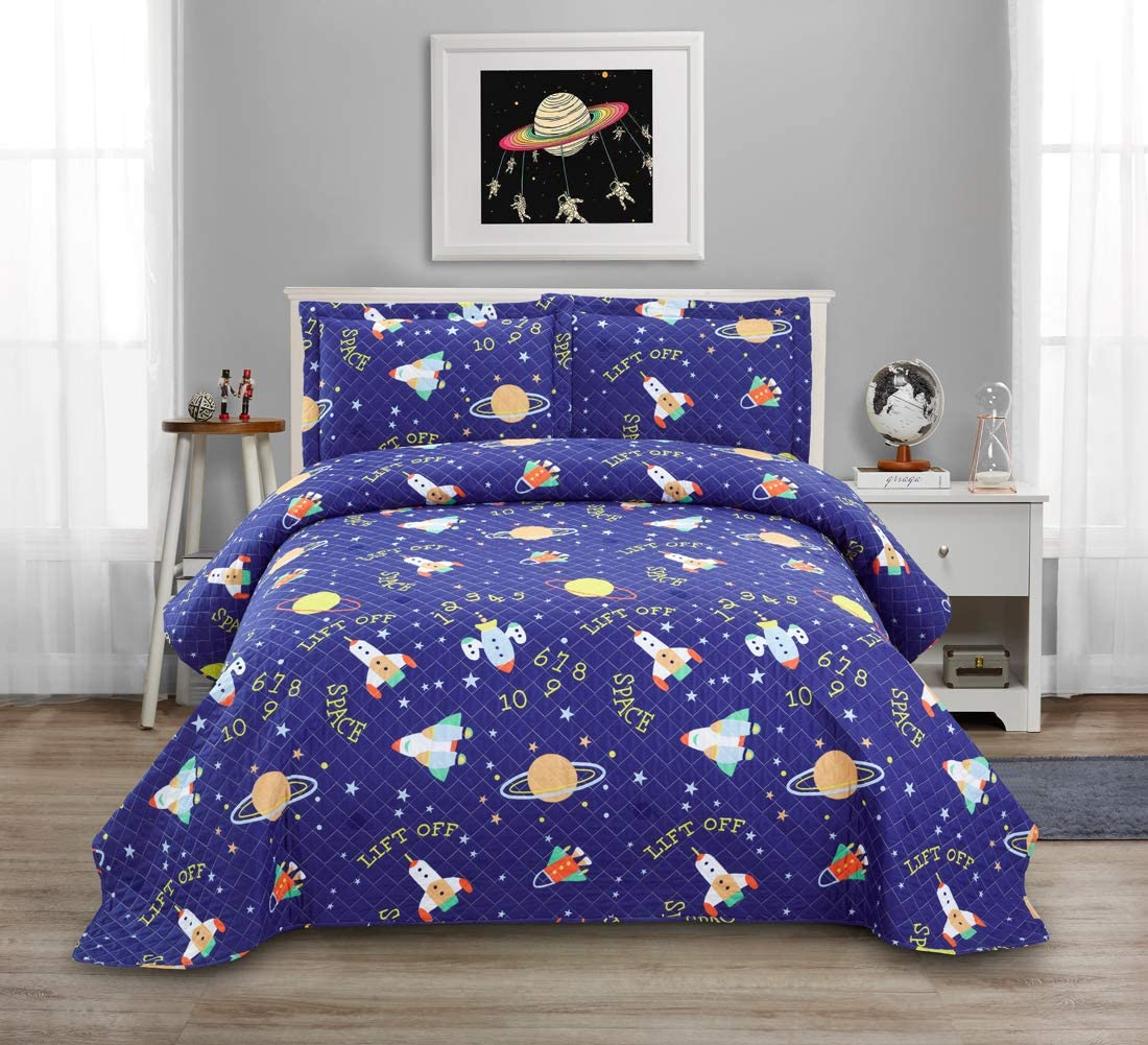3 Pcs Kids Space Quilt Summer Bedspreads