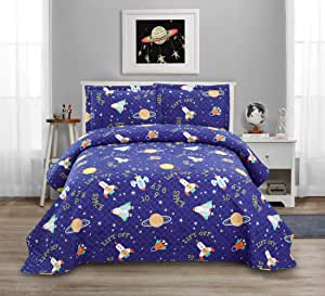 3 Pcs Kids Space Quilt Summer Bedspreads Full/Queen Size Galaxy Coverlet Set,Cute Spaceship Plane Numbers Planet Bed Cover Lightweight Kids Universe Blanket Galaxy Bedding for Teens Boys-Purple