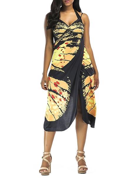 61fa423cfa07 Pareos Playa Mujer Verano Elegantes Moda Vintage Mariposa Impresión ...