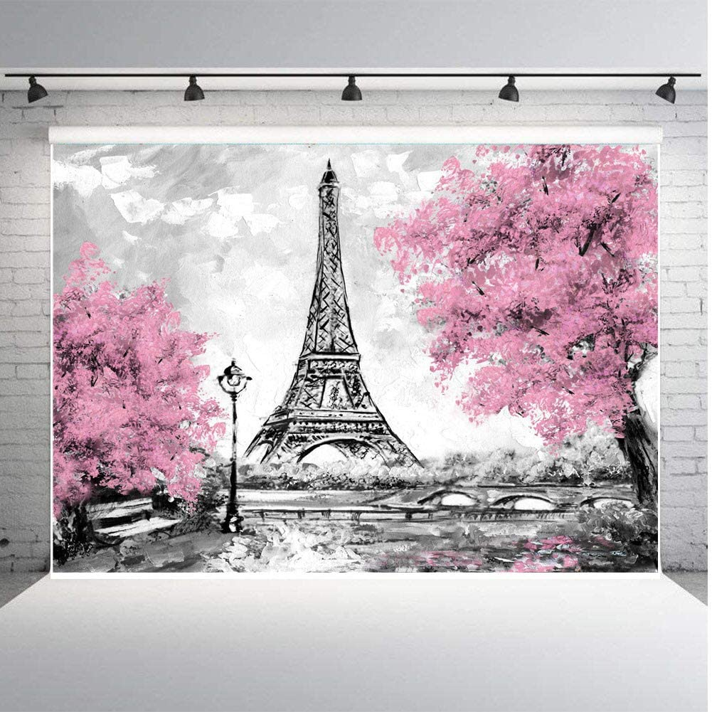 Fanghui 9x6ft Paris Eiffel Tower Backdrops for Photography Pink Flowers Trees Photo Lover Wedding Studio Props Background Banner Vinyl
