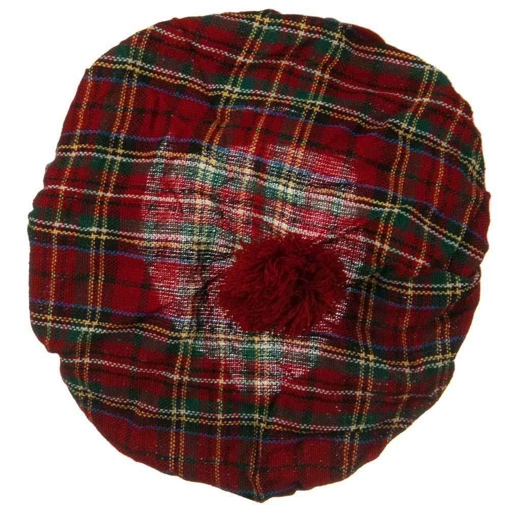 22e4a7af93184 Amazon.com: Plaid Beret - Red Plaid: Clothing