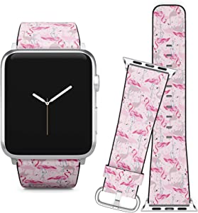 Compatible with Apple Watch iWatch (42/44 mm) Series 5, 4, 3, 2, 1 // Soft Leather Replacement Bracelet Strap Wristband + Adapters // Pink Flamingo Beach