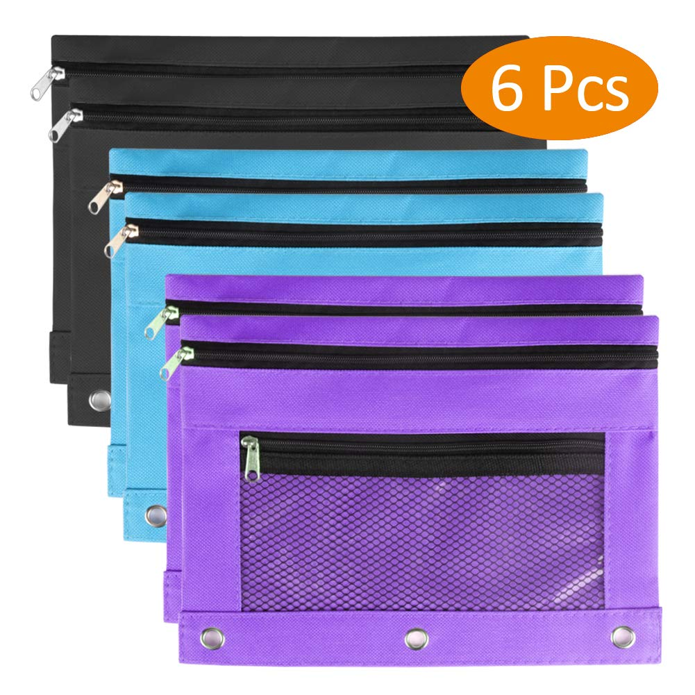 Zippered Binder Pouch, Tiberham 3 Ring Pencil Case with Mesh Window for Stationary Small Items, High Capacity Pen Holder for School Office and Art (6 Pack)