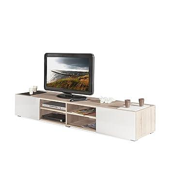 Maxo Meuble TV blanc laqué et coloris chªne 2 tiroirs Naturel