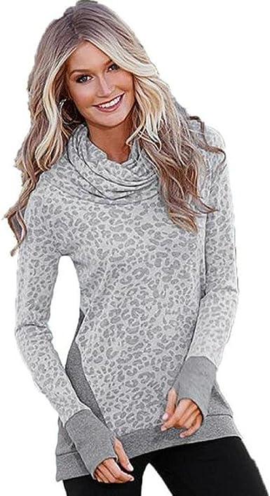 Women Long Sleeve Pullover Camo Blouse Loose Baggy Jumper Shirt Top Sweatshirt