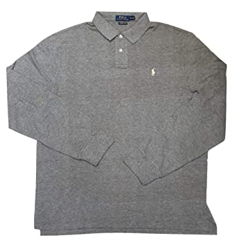 1f71be8510f93 Polo Ralph Lauren Mens Custom Slim Fit Mesh Long Sleeve Polo Shirt (Dark  Gray