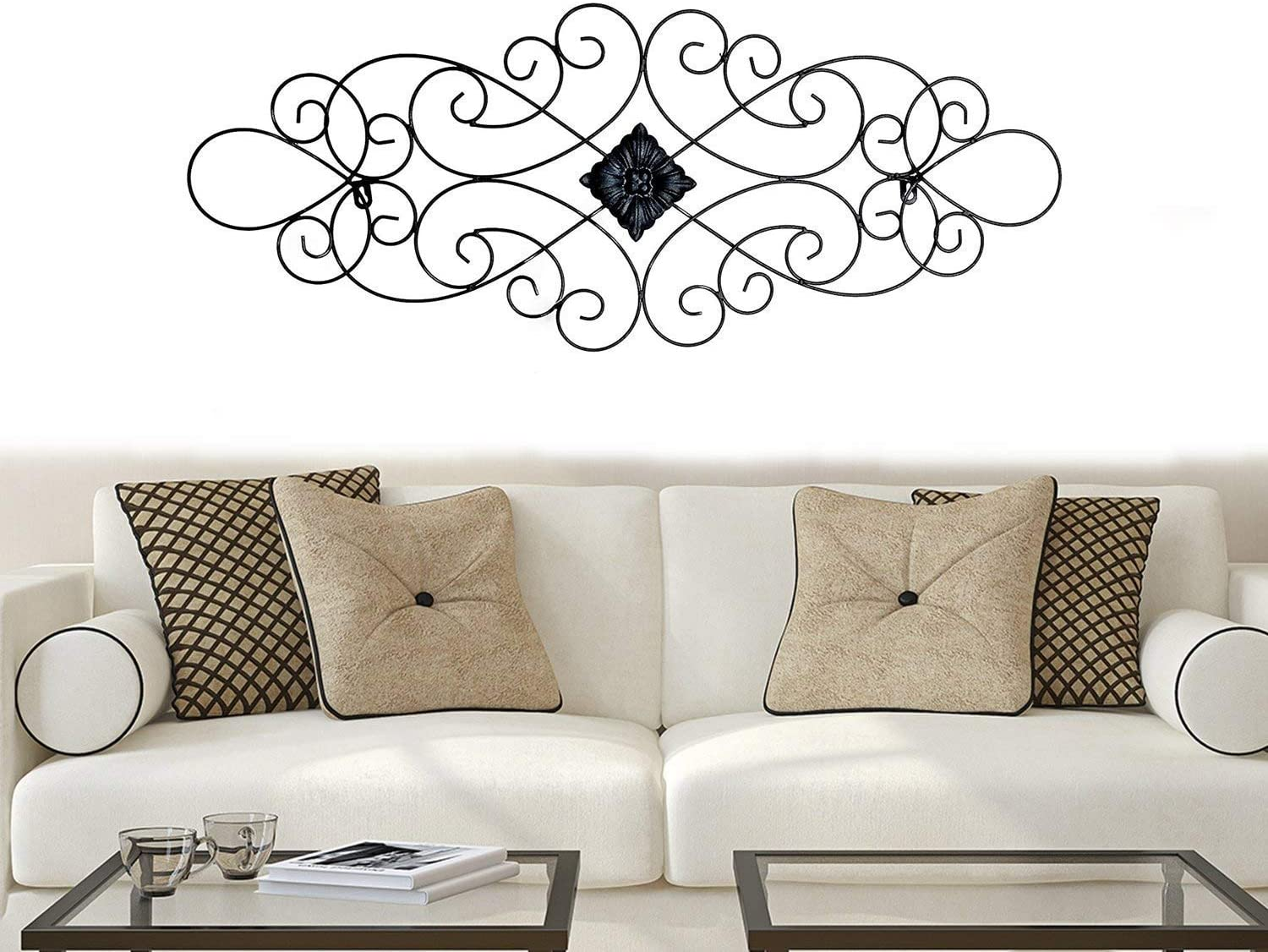 Bellaa 23226 Scrolled Metal Wall Art Medallion Plaque Oblong Living Room Home Decoration Wall Sculptures