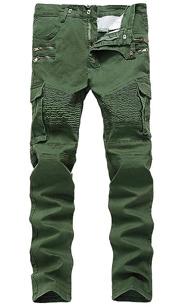 Amazon.com: Hengao - Pantalones vaqueros elásticos ajustados ...