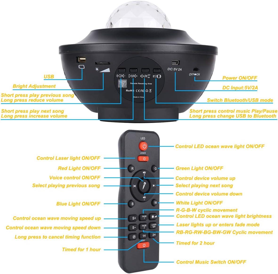LED Sternenhimmel Projektor Nachtlicht Wasserwellen Lampe USB mit Lautsprecher