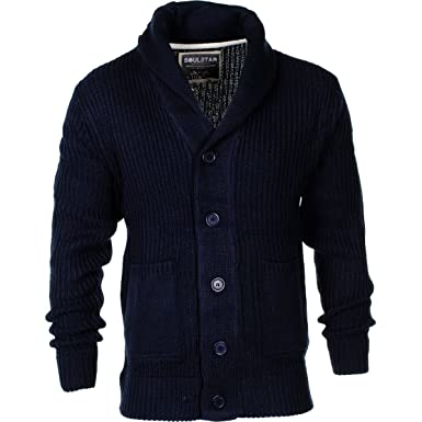 Men's Soulstar Shawl Collar Button Front Cardigan Knitted Sweater ...
