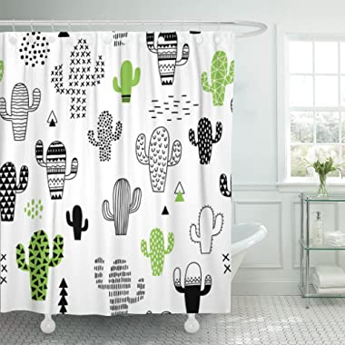 TOMPOP Shower Curtain Black Desert Cute Hand Drawn with Cactus Hipster Geometric Waterproof Polyester Fabric 72 x 72 inches Set with Hooks