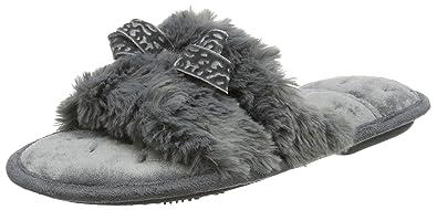 51c2145d49a1 Isotoner Women s Fluffy Slider Slippers Open Back  Amazon.co.uk ...