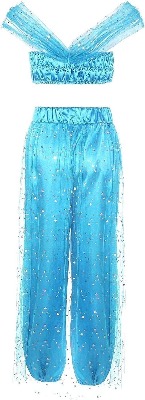 Taglia M Carnevale Odalisca Colore Azzurro Danzatrice Orientale Musulmana Araba per Donna Ragazza Adulti Halloween Cosplay Lovelegis Costume Principessa Jasmine Travestimento