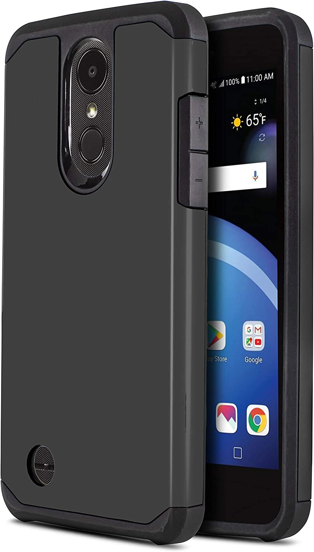CasemartUSA Phone Case for [LG Phoenix 4 / LG Phoenix 3 (AT&T)], [DuoTEK Series][Black] Shockproof Hard Cover [Impact Resistant][Defender] for LG Phoenix 3 & LG Phoenix 4 (AT&T)